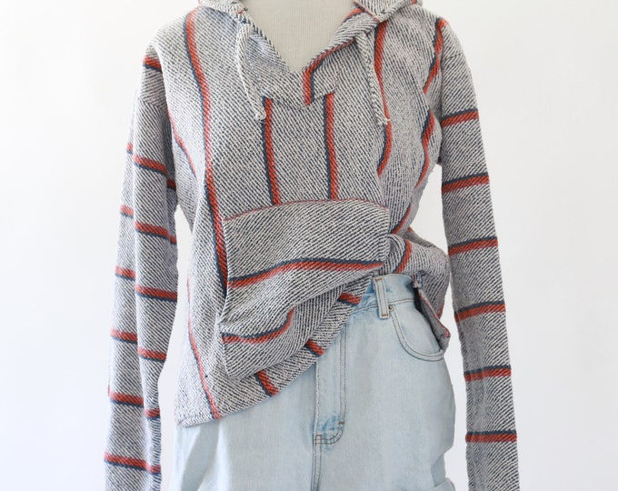 VTG 80s Mexican knit sweater |  knit surfer hoodie