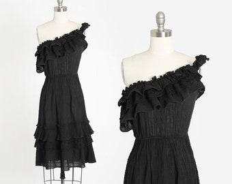 Phase II gauze dress | Vintage 1970s one shoulder black cotton Gauze mini Dress |  70s Crochet floral lace ruffle  Mini Dress