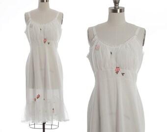 Laros floral slip |  Vintage 50s white floral slip dress | Vintage 1950s wedding slip