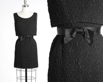 Vintage 60s textured bow mini dress | 1960s little black dress
