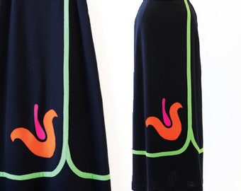 Tulip skirt | Vintage 60s Woven Tulip skirt | Vintage 1960s knit neon maxi skirt