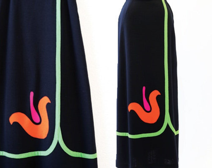 Tulip skirt | Vintage 60s black knit tulip maxi skirt