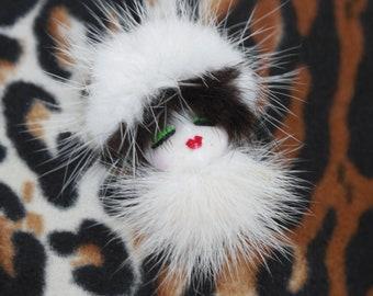 Mink fur brooch | Vintage Art deco face pin | Resin face brooch