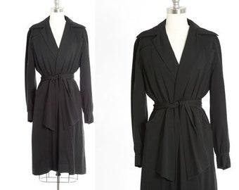 Forstmann wool coat | Vintage 50s black trench coat | 1950s wrap wool coat