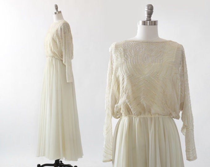 Kristine's Kreations gown |  Vintage 60s 70s beaded sequin ivory chiffon dress