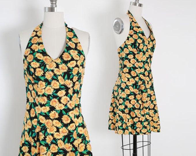 Sunflower mini dress | Vintage 90s sunflower halter dress