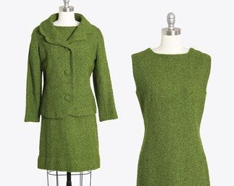 60s wool suit   Vintage 60s green wool tweed suit   Mid century Modern 2pc dress suit jacket