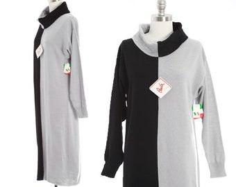 Amita of Florence knit dress | Vintage 70s 80s color block wool sweater dress | 1970s deadstock turtleneck dress