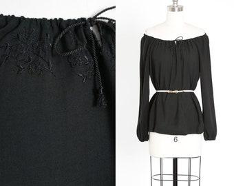 Off the shoulder blouse | Vintage 70s black embroidered boho cotton blouse | 1970s off the shoulder peasant blouse