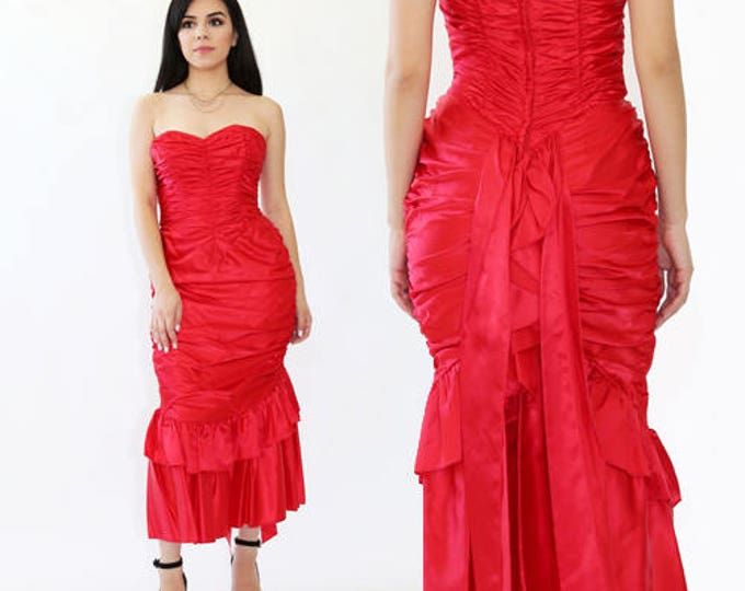 vtg 80s Gunne Sax dress RED satin ruffle cocktail party Wedding party Victorian