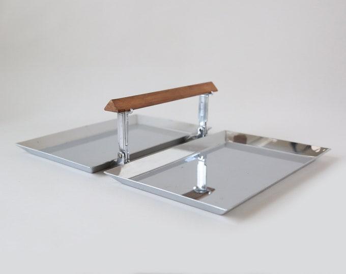 Vintage Mid Century Modern Hanning Powman Meriden stainless teak serving tray