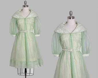 50s cape dress | Vintage 50s sheer green 3pc dress | 1950s floral brocade mini dress coat