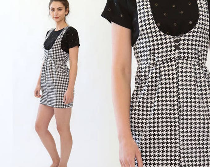 Vintage 90s Houndstooth suspender clueless club Kid cocktail party mini dress XS