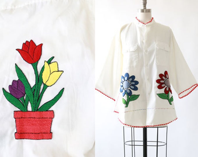 Vintage 70s BIG MAC embroidered chore shirt | French Knot floral embroidered shirt