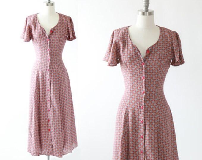 Medallion midi dress   Vintage 90s rayon midi dress   Angle wing sleeve dress