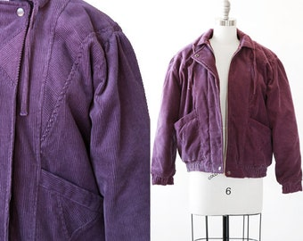 Corduroy puffer   Vintage 80s purple corduroy  puff jacket   1980s winter jacket