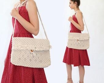 SALE! Macrame market bag | Vintage 70s woven macrame purse | 1970s woven purse