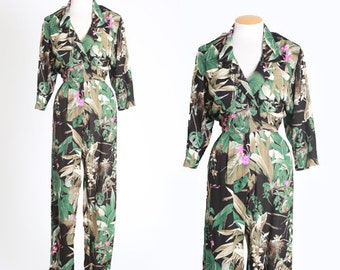 Jungle jumpsuit | Vintage 80s Tropical Jungle floral print jumpsuit | 1980s tropical jumpsuit
