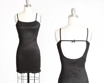 Ezen mini dress | Vintage 90s crochet black mini | 1990s backless bodycon dress