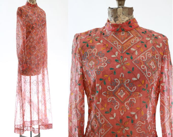 Featured listing image: Anne Fogarty Dress | Vintage 60s Moroccan dress | gold thread maxi dress