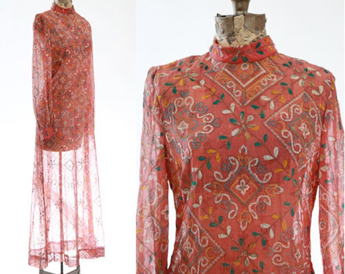 Anne Fogarty Dress | Vintage 60s Moroccan dress | gold thread maxi dress