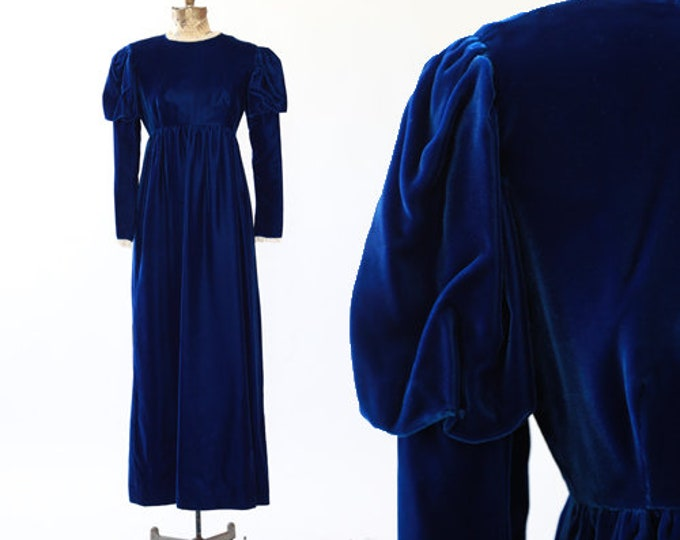 Gigot sleeve maxi dress | Vintage 60s Blue VELVET puff sleeve maxi dress XS