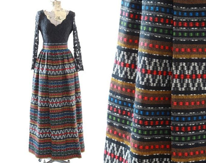 Bohemian maxi skirt | Vintage 60s woven ethnic tapestry skirt | Guatemalan weave skirt