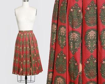 GRAFF baroque skirt   Vintage 50s 60s floral novelty print cotton plated skirt