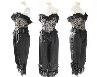 Loralie jumpsuit | Vintage 80s Loralie sequin ruffle satin jumpsuit | Saloon romper | Old West jumpsuit | Avant Garde jumpsuit