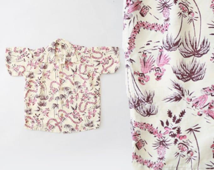 Vintage 50s Kids Hawaiian shirt Hula girl tropical cotton shirt toddler