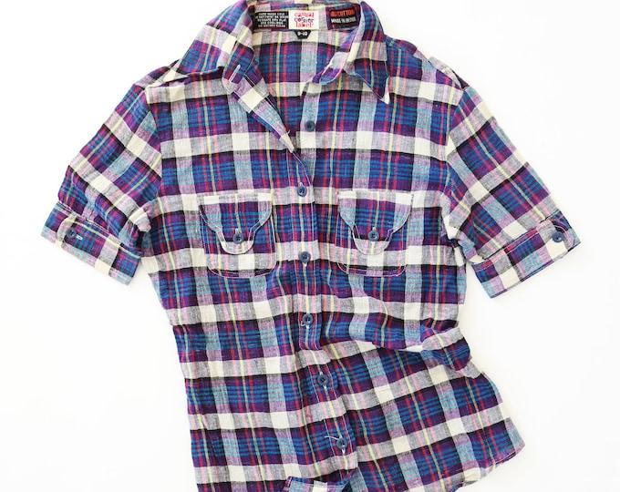 Purple plaid blouse | Vintage 70s cotton plaid top