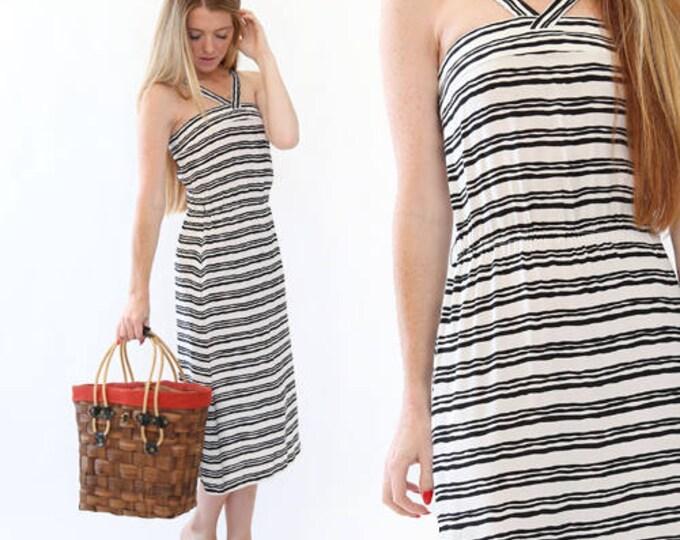 Vtg 90s black + white striped halter Dress S