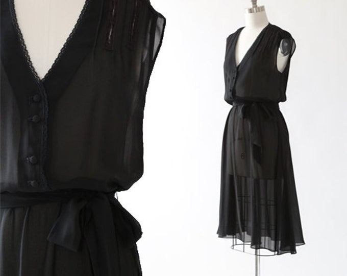 70s jonathan martin sheer midi dress | 1970s deadstock black dress