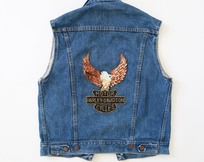Roebucks Harley Davidson sequin patch | Vintage 70s denim jean vest M