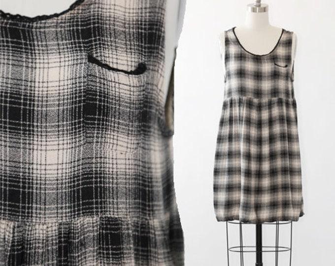 90s shadow plaid grunge mini dress