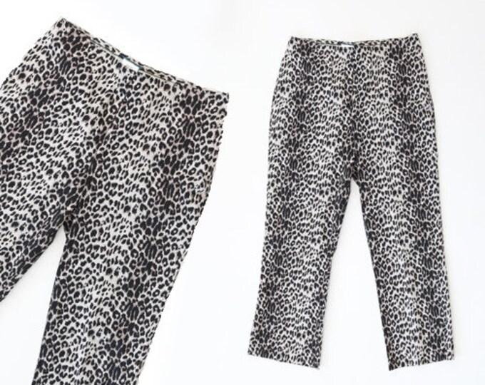 Leopard print capris | Vintage 90s 50s high waist leopard print peddle pushers | Leopard print slacks