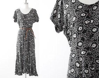 Floral maxi dress | Vintage 90s floral ball rayon maxi dress | Ruffle maxi dress