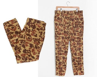 Floral camo pants | Vintage 70s Wolverine Camo pants | 1970s camouflage hunting camping pants W35 L29