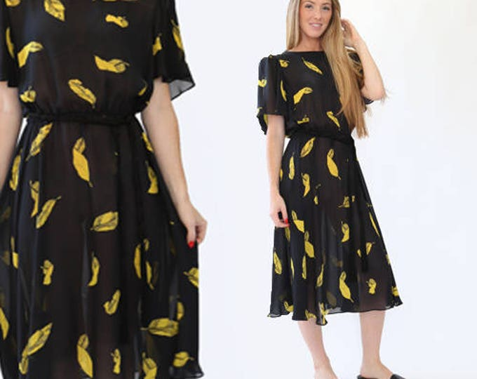 Novelty Feather midi dress | Vintage 80s black + yellow sheer Feather dress