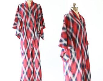 IKAT lattice SILK kimono   Vintage 40s Japanese KIMONO   Antique wedding coat Jacket Robe