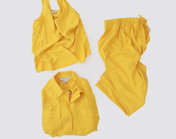Minimalist silk set   Vintage yellow SILK 3pc Blouse tank + Trousers pants outfit suit