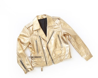 Gold leather jacket | Vintage Gold Leather Biker Jacket