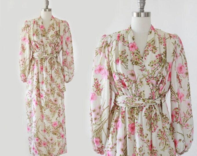 Victor Costa silk dress | Vintage 80s Victor Costa floral silk lurex dress | Floral gold lurex wrap dress