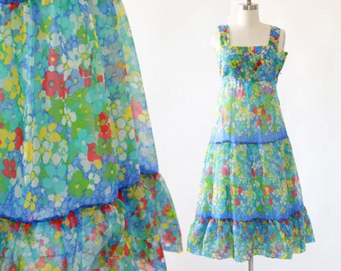 Watercolor midi dress | Vintage 70s floral sun dress XS