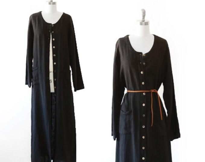 Linen duster   Vintage 90s black linen duster Maxi dress   Large duster dress