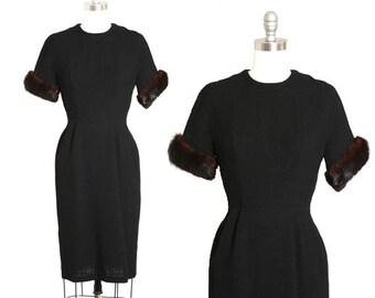 Elissa mink fur dress | Vintage 50s black wool wiggle dress | 1950s mink fur cuff cocktail dress