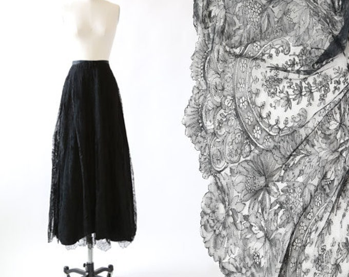 Antique Vintage Edwardian floral silk lace maxi dress skirt | mourning skirt