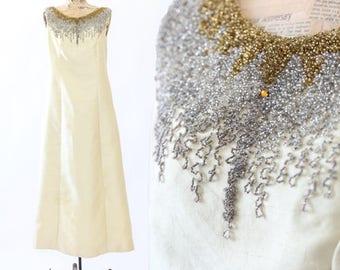 SALE! Shantung beaded dress | Vintage 60s beaded yellow Shantung silk maxi dress