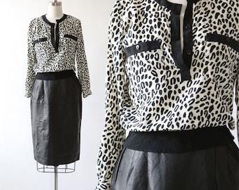 Leopard print silk blouse | Vintage 80s silk cropped leopard print blouse