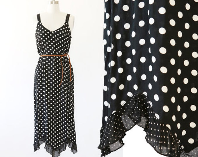 ZOE California dress | Vintage 90s polka dot ruffle maxi dress
